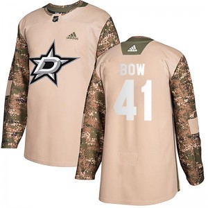 Men's Dallas Stars Landon Bow Adidas Authentic Veterans Day Practice Jersey - Camo